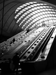 Canary Wharf Escalators 4 (preynolds) Tags: blackandwhite london underground mono tube trainstation docklands escalators canarywharf eastlondon