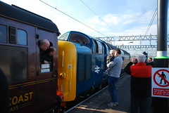 Deltic Departing (Sam Tait) Tags: uk england station train tour diesel britain great royal rail railway loco class british spitfire locomotive 55 railways napier scots greys nuneaton deltic 2011 railtours 55022