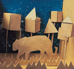 Tiger In The Jungle (jamesshedden) Tags: sky abstract colour art texture animal illustration night stars 3d model colours shapes cardboard nightsky starrysky