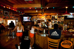 Workin' hard (originalhooters) Tags: girls orange bar tampa sitting florida hooters fl waitress bartender ordering barstool clearwater orangeshorts hootersgirls originalhooters meetahootersgirl