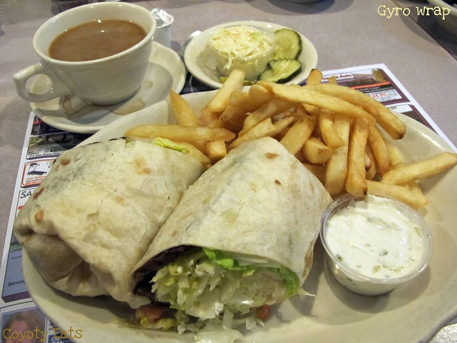 Gyro wrap with fries and coffee