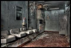 Decrepit Water Closet (RiddimRyder) Tags: school ontario canada abandoned bathroom peeling sink decay urbandecay forgotten urbanexploration derelict abandonment hdr crumbling ue urbex washyourhands abandonedschool uer riddimryder
