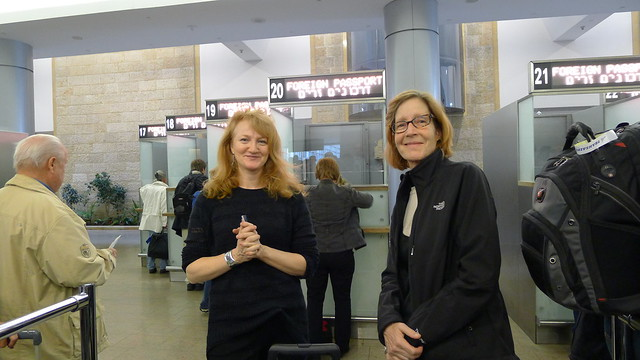 Kate and Kristat at Passport Control at Ben Gurion
