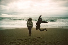 (Maddie Joyce) Tags: ocean trees friends light sea sky music cliff sun bus green film beach weather 35mm canon landscape happy eos maddie jump cornwall guitar magic roadtrip adventure joyce traveling lush duncan bishop rugged benji coulter wwwthemagicbuscollectivecom