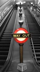 (Curry15) Tags: london escalator artdeco wayout metropolitanline thetube jubileeline roundel selectivecolour swisscottage nw3 theunderground bakerlooline blackwhitecolour finchleyrd couleursslectives wayoutroundel