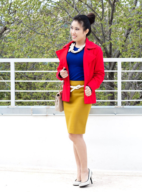 flower necklace yesstyle chanel flap j. crew double serge pencil skirt ochre red peacoat