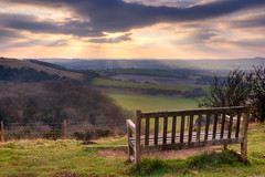 uk sunset panorama bench landscape chair view south hill hampshire winchester hants