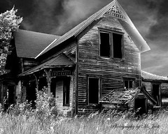 Do you dare enter???? (**Ms Judi**) Tags: windows roof light sky blackandwhite house tree rot abandoned home beautiful grass wisconsin clouds cool scary weeds sad decay country entrance charm haunted boo spooky roofs oldhouse wicked forgotten porch left haunt rotted rual msjudi dudkiewicz judistevenson crivitzmarinettecounty judippc photographybymsjudi doyoudareenter