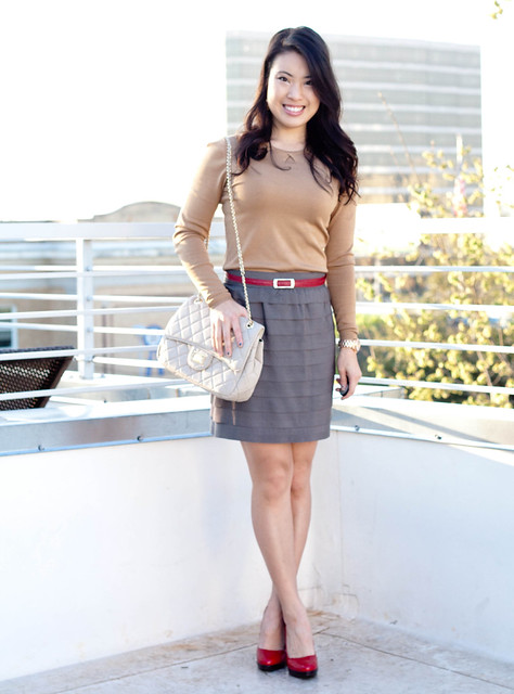 ann taylor gold knit sweater gray layered grosgrain skirt michael kors mk5430 red belt red patent heels yesstyle chanel flap purse