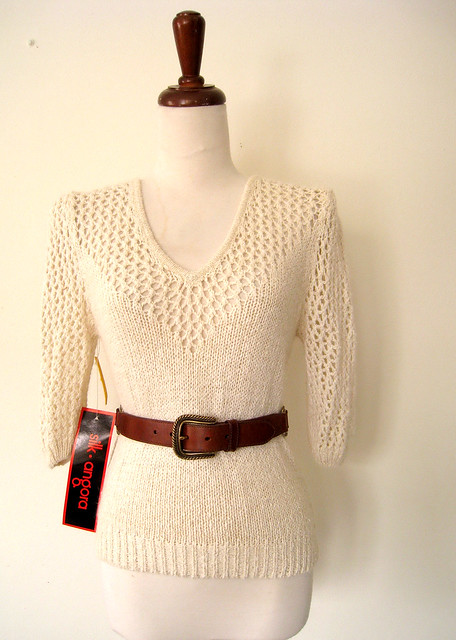 Perfect Deadstock Cream Crochet Sweater, vintage 80's