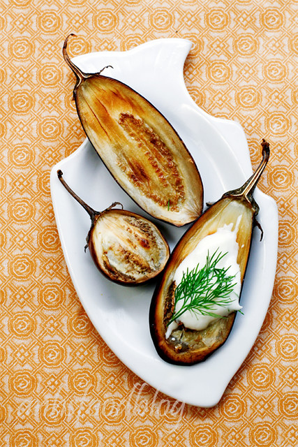 Roast baby eggplants with garlic and dill yoghurt sauce