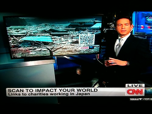 CNN QR codes linking to information on charity donations for Japan