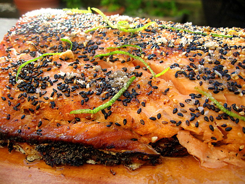 Sesame Salmon with Iburi-Jio Cherry smoked sea salt