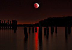 Titlow Beach, Night Scene with red moon, Tacoma, Washington (Don Briggs) Tags: moon beach pilings redmoon thefixx nikon18200lens donbriggs redskysatnight nikond5000 titlowbeachtacomawashington
