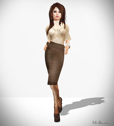 Vanitas Vesture - Nervous Blouse - Camel  & Meticulous Pencil Skirt -Choc