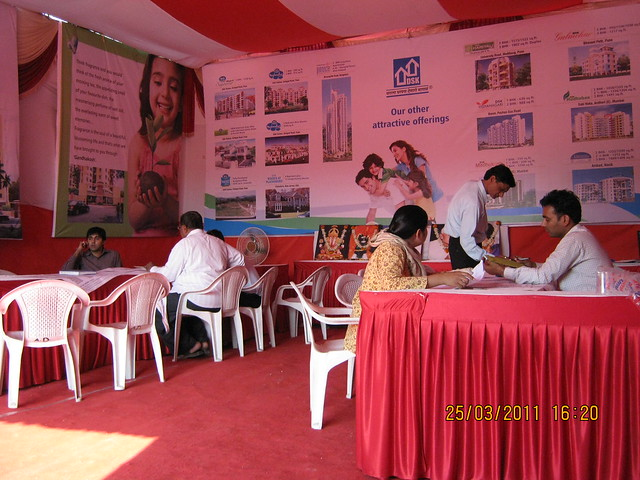 Property buyers in the site booking office of DSK Gandhakosh Baner Pune