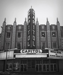 12.52 Mega Bowl (Kali Koldwater) Tags: old white black history abandoned beautiful lights theater downtown michigan down bowl capitol ornate flint hdr semipro shut mega megabowl shutdown