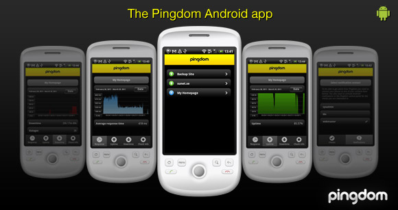 Screenshots from the Pingdom Android app