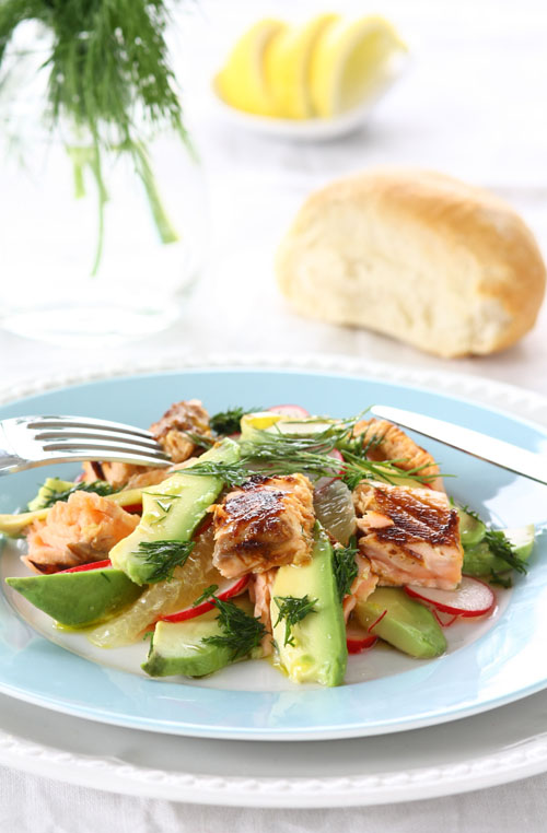 avocado sticky salmon salad