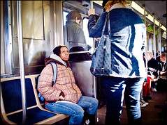 The whole train could hear the Sousa march (TheeErin) Tags: city winter woman chicago public train person beige authority el wintercoat jeans transportation transit backpack traincar l seated pockets brownline unsmiling chicagoland chicagotransitauthority chicagoist highschooler statelake ridership masstrans