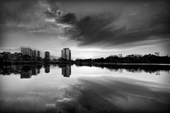 Condo Scene (Mute*) Tags: park sky bw lake toronto reflection buildings pond highpark condos grenadierpond sigma20mmf18