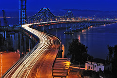 Eastern Span S-Curve #1 (nxtrFOTO) Tags: sanfrancisco california ca longexposure nightphotography travel bridge blue winter sunset red orange usa northerncalifornia clouds catchycolors photography oakland construction nikon s bayarea sfbayarea lighttrails bluehour i80 nikkor temporary westcoast interstate80 scurve yerbabuenaisland bridgeconstruction easternspan sfoaklandbaybridge d700 afs2470mm nxtrfoto nextierphotography