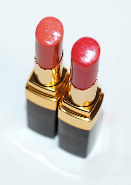 Chanel Rouge Coco Shine 46 Liberte vs 62 Monte Carlo