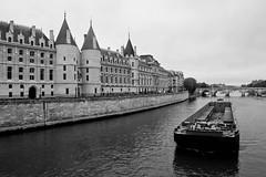 la seine (Antonio_Trogu) Tags: bridge blackandwhite bw white black paris france water monochrome seine river blackwhite barca hoteldeville fiume bn ponte barge senna keel chiatta antoniotrogu