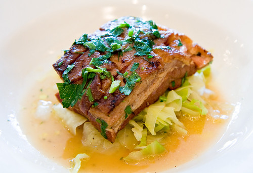 Slab bacon with cabbage and sherry vinaigrette, LIC Market