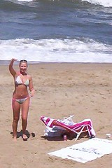 Hi there! (I'd Like to Photograph You!) Tags: summer woman hot beach girl sand bikini blond