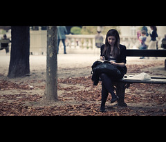 the reader (millan p. rible) Tags: street cinema paris france canon movie still candid stranger cinematic jardinduluxembourg 135l thereader canonef135mmf2lusm canoneos5dmarkii 5d2