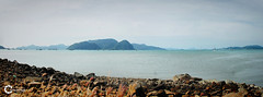 Kuah Beach   Panorama (Tareq Abuhajjaj   Photography & Design) Tags: ocean blue sea bw panorama cloud beach relax photography design nice flickr malaysia arabia  kedah tareq    d700 tareqdesigncom tareqmoon tareqdesign  abuhajjaj  jalanpandakmayah1 pusatbandarkuah07000pulaulangkawi