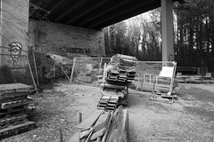 Under Construction (Robert D Thomas) Tags: uk bridge bw white black metal wales construction europe north brittania anglesey