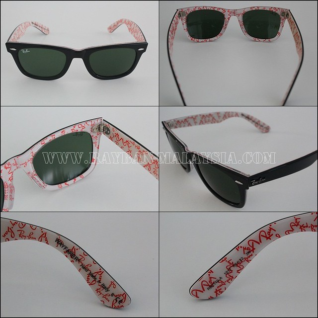 wayfarer rare prints ray ban text white