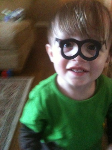 Henry in Potato Head glasses