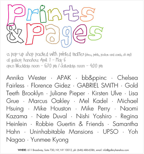 Prints & Pages - APRIL 7 @ GALLERY HANAHOU by Michael C. Hsiung