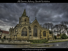 All Saints, Arksey (Paul Simpson Photography) Tags: uk trees england church wet rain religion brickwall puddles aftertherain hdr allsaints waterreflection southyorkshire churchspire churchwindow allsaintschurch rainyweather photomatix archwindow arksey religiousbuilding churchcross april2011 paulsimpsonphotography