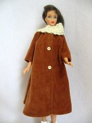 Handmade Brown Barbie Doll Coat & Crocheted Scarf (GrandmaLindasHouse) Tags: brown scarf golden handmade crochet cream barbie clothes microsuede
