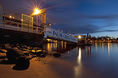 False Creek Ferries (Claire Chao) Tags: blue light sunset canada water rock vancouver twilight rocks bc dusk britishcolumbia smooth deck l sunsetbeach englishbay nightview bluehour citynight aftersunset aquaticcentre falsecreekferries ferrystop llens smoothwater vancouveraquaticcentre lightstar canon1635mmf28 canoneos5dmarkii autobw asshotbw 4750k7 nightviewvancouver