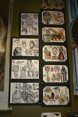 Tattoo flash sheets (fotoflow / Oscar Arriola) Tags: show chicago art tattoo us illinois artwork united flash paintings drawings exhibition sheets il revolution opening states signed sealed delivered