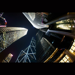 Metropolitan ([~Bryan~]) Tags: city light urban reflection architecture night buildings hongkong sony central fisheye metropolitan bankofchina nex gettyimageshongkongmacauq1