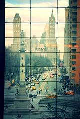 Looking through the window (faungg's photos) Tags: street city nyc travel urban newyork window evening view traffic metro manhattan scene columbuscircle   0276