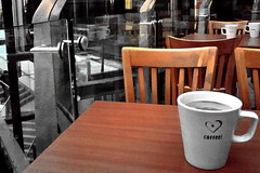 coffee (Harry Halibut) Tags: reflection glass coffee shop mall shopping table chair lift crystal steel sheffield images peaks curve stainless allrightsreserved precinct steelwork colourbysoftwarelaziness imagesofsheffield 2011andrewpettigrew racade sheff110220871