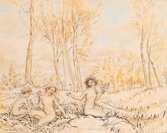"Arthur Rackham - ""Three wood nymphs gathering flowers in a wood"" (sofi01) Tags: arthurrackham"