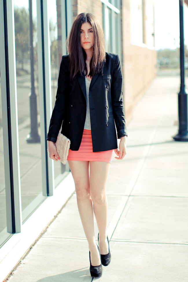 Fashion, Alexander Wang Tank, Asos Ashley Olsen Skirt, Hot pink, Suede Heels, Black Blazer