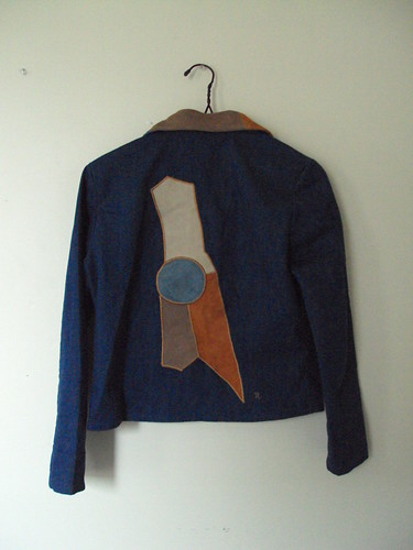 Vintage Denim Jacket with Leather Detail (back)