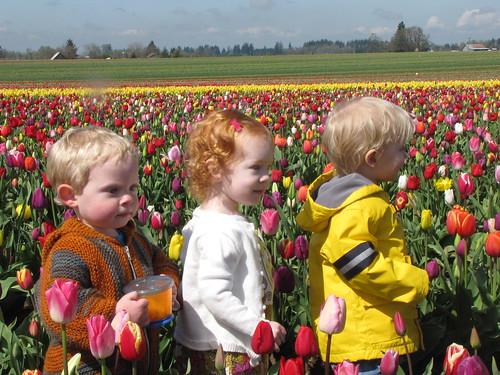 kids in tulips