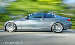 BMW 335i Speeding (Yankis) Tags: auto door 2 motion blur car photography grey nikon inch photographer ride shot florida miami corse space south wheels gray d2x twin automotive tires turbo german rig whip bmw mm lc rims sick 19 v1 coupe 1224mm dropped rolling linea beemer kw 1224 slammed coilovers 555 3series yanni nitto bimmer tuned 818 19s 335 e92 335i georgoulakis lc818