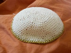 Groomsmen Kippah #1 (Knit n Frog) Tags: wedding white gold handmade metallic crochet cotton lara yarmulke dmc kippah elann antiquegold dmcthread