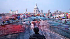 Long daytime exposure across the Millennium Bridge (Anatoleya) Tags: bridge london st thames pen river long exposure day cathedral pauls olympus millennium daytime epl1 anatoleya